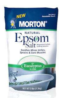 The new Natural Epsom Salt line frm Morton Salt include scented variants.
