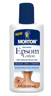 Morton Salt has created Epsom salt lotion that deliver the benefits of the product on rub-on format that's perfect for application away from the tub.