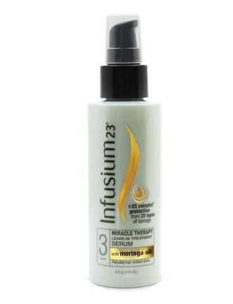 Infusium23 Miracle Therapy leave-in treatment features moringa oil.