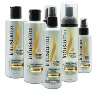 The Infusium23 Miracle Therapy line includes shampoo, conditioner and leave-in treatment as well as styling aids, a first for the brand.
